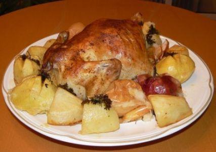 Рецепт курица с картошкой и яблоками в духовке в рукаве рецепт